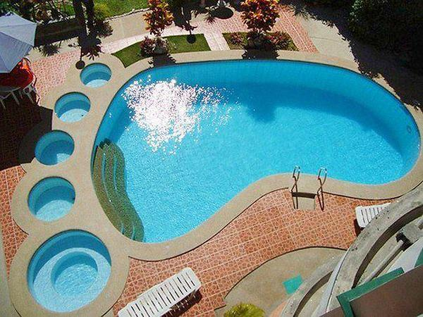 Foot shaped swimming pool